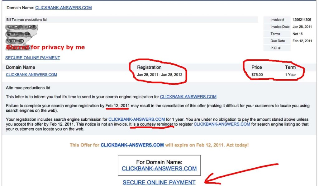 Domain registration scam email